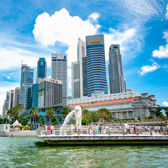 Merlion and City Skyline